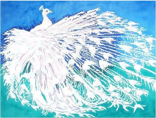 click here to view larger image of Albino Peacock  (hand painted canvases)