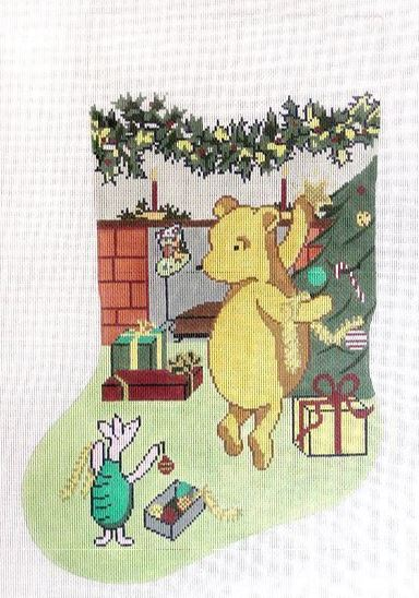 click here to view larger image of Pooh Stocking (hand painted canvases)