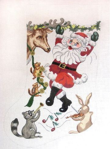 click here to view larger image of Dancing Santa Stocking (hand painted canvases)