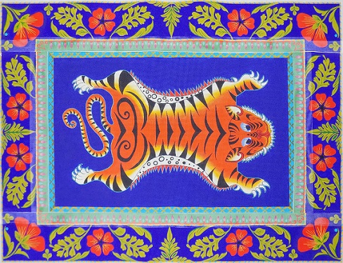 click here to view larger image of Tiger Rug (Center Panel) (hand painted canvases)