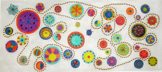 click here to view larger image of Dots and Gears (hand painted canvases)