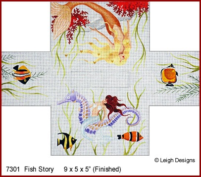 click here to view larger image of Fish Story Tissue Topper (hand painted canvases)