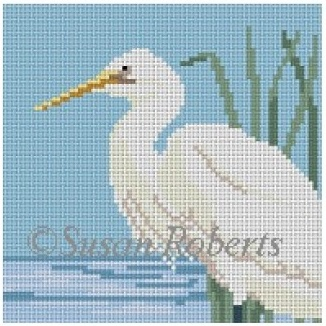 click here to view larger image of Snowy Egret Coaster (hand painted canvases)