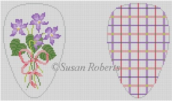 click here to view larger image of Scissor Case, Violets (hand painted canvases)