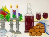 click here to view larger image of Challah Cover With Fruit (hand painted canvases)