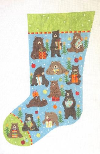click here to view larger image of Bear Stocking (hand painted canvases)