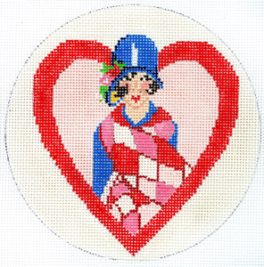 click here to view larger image of Art Deco Heart (hand painted canvases)