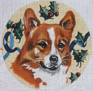 click here to view larger image of Welsh Corgi with Holly (hand painted canvases)