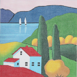 click here to view larger image of House by the Lake  (hand painted canvases)