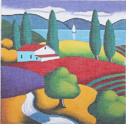 click here to view larger image of Colorful Landscapes Lakeside Farm - 13M (hand painted canvases)