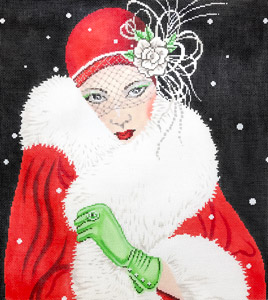 click here to view larger image of Art Deco Lady with Green Gloves (hand painted canvases)