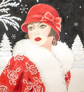 click here to view larger image of Art Deco Lady Winter (hand painted canvases)