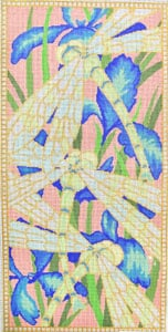 click here to view larger image of Iris and Dragonfly (hand painted canvases)