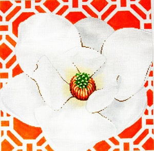 click here to view larger image of Magnolia on Tangerine (hand painted canvases)