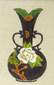 click here to view larger image of Antique Vase - Purple with White Flower (hand painted canvases)
