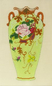 click here to view larger image of Antique Vase - Green with Pink Roses (hand painted canvases)