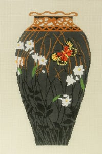click here to view larger image of Antique Vase - Grey with Orange Butterfly (hand painted canvases)