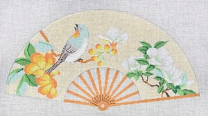 click here to view larger image of Asian Fan with Aqua & White bird, Yellow (hand painted canvases)