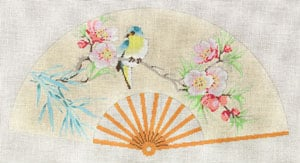 click here to view larger image of Asian Fan with Yellow & Yellow bird, Peach (hand painted canvases)