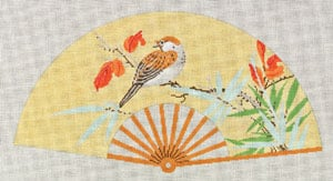 click here to view larger image of Asian Fan with White bird & Orange (hand painted canvases)