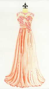click here to view larger image of Evening Gown - Peach and Pink (hand painted canvases)