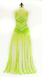 click here to view larger image of Evening Gown - Lime Green with Spag. Straps (hand painted canvases)