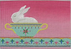 click here to view larger image of Bunny in a Soup Bowl (hand painted canvases)