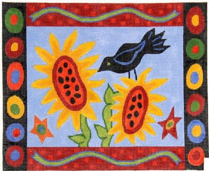 click here to view larger image of Blackbird & Sunflower Primitive (hand painted canvases)