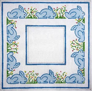 click here to view larger image of Blue Bunnies and Flowers (hand painted canvases)