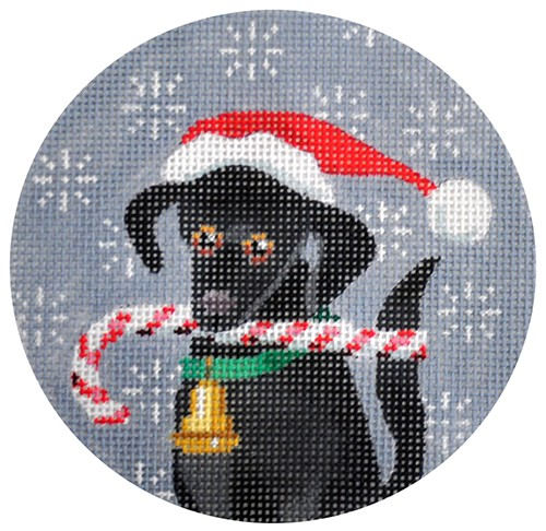 click here to view larger image of Black Labrador Xmas Circle (hand painted canvases)