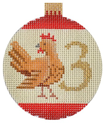 12 Days Bauble - 3 French Hens hand painted canvases