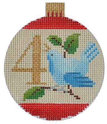 click here to view larger image of 12 Days Bauble - 4 Calling Birds (hand painted canvases)