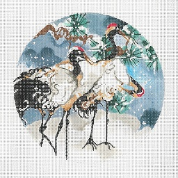 click here to view larger image of 3 Snow Cranes Ornament (hand painted canvases)