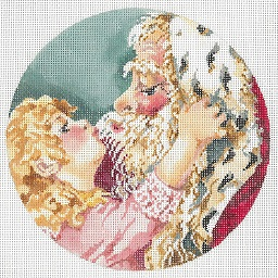 click here to view larger image of Amy Kissing Santa Ornament (hand painted canvases)