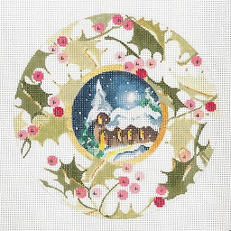 click here to view larger image of Church - Holly Border Ornament (hand painted canvases)