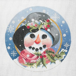click here to view larger image of Frosty With Coal Teeth Ornament (hand painted canvases)