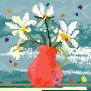 click here to view larger image of Red Vase with Flowers (hand painted canvases)