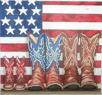 click here to view larger image of Patriotic Boots (hand painted canvases)