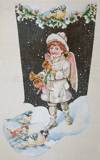 click here to view larger image of Angel Ringing In New Year Stocking (hand painted canvases)