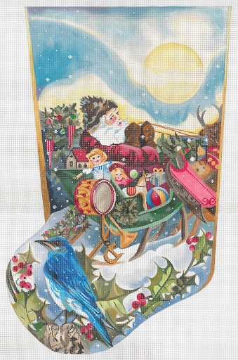 click here to view larger image of Santa - Sleigh - Toys - Bluebird Stocking (hand painted canvases)