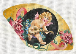 click here to view larger image of Cherub Playing Lute - Roses Fan (hand painted canvases)
