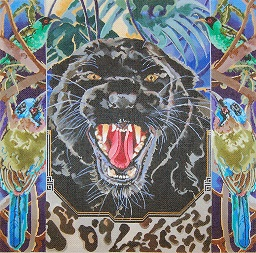 click here to view larger image of Black Leopard - Forest Birds (hand painted canvases)