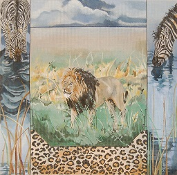click here to view larger image of Black - Maned Lion - Zebras (hand painted canvases)