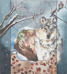 click here to view larger image of Grey Wolf - Boulder (hand painted canvases)