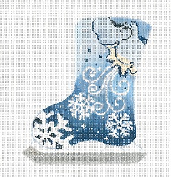 click here to view larger image of North Wind Blowing Snowflakes Ice Skate (hand painted canvases)