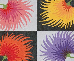 click here to view larger image of Corner Zinnias (hand painted canvases)