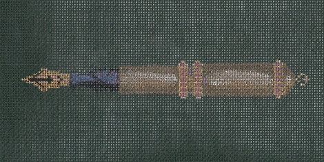 click here to view larger image of Gold Pen On Green (hand painted canvases)