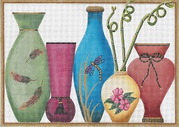 5 Vases With Curly Bamboos hand painted canvases