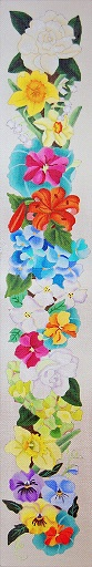 click here to view larger image of Floral Bell Pull (hand painted canvases)