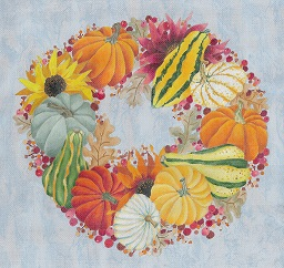 click here to view larger image of Autumn Nocturne Wreath (hand painted canvases)